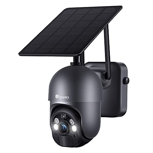 Ctronics Überwachungskamera Aussen Akku 15000mAh 355°/95° Schwenkbar mit Solarpanel, 100% Kabellos PTZ WLAN...