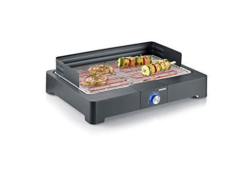 SEVERIN Tischgrill mit Edelstahl-Grillrost für drinnen und draußen, Elektrogrill mit schnellem Grill-Start,...