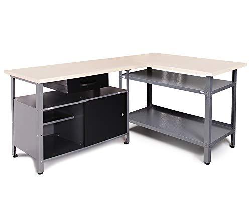 Ondis24 Werkstatt-Set Ecklösung Sparfuchs, 2x Werkbank aus Metall, melaminbeschichtete Arbeitsplatte,...