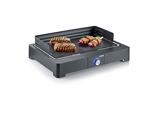 SEVERIN Tischgrill mit Aluminium-Grillplatte für drinnen und draußen, Elektrogrill mit schnellem...