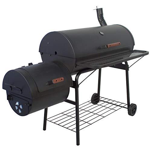 Nexos BBQ Grill Smoker Grillwagen Holzkohlegrill 2 Kammern Barbecue Transporträder Temperaturanzeige...