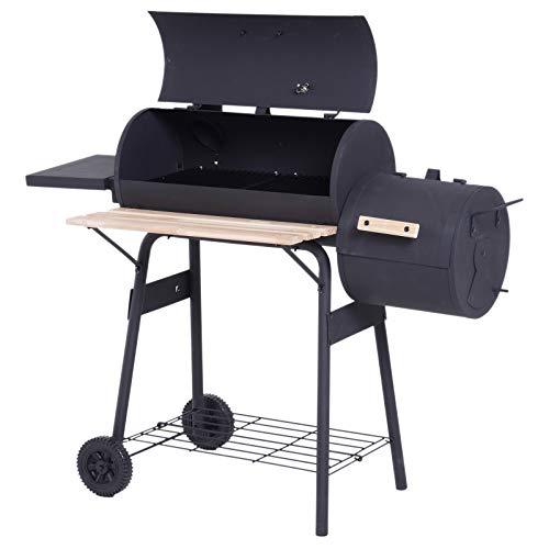 Outsunny Smoker Grill BBQ Holzkohlengrill Grillwagen Multifunktion mit 2 x Brennkammer Schornstein Metall +...
