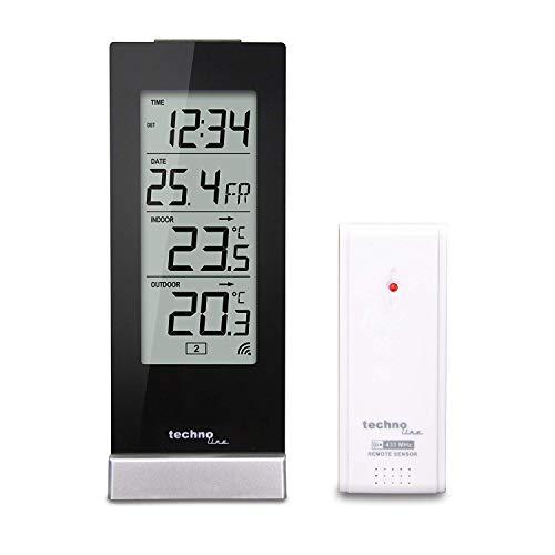 Technoline WS 9767 Wetterstation mit Funkuhr, Innen- und Außentemperaturanzeige, hochglanz, schwarz, 6,4 x...