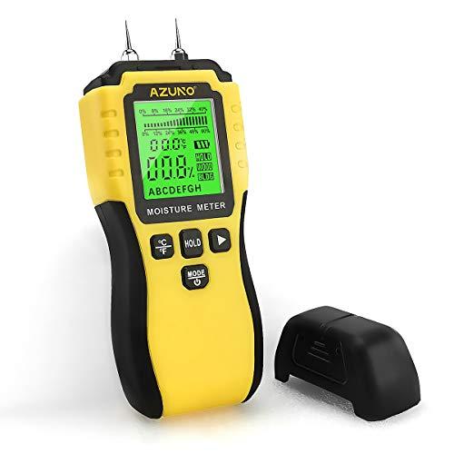 AZUNO Feuchtigkeitsmessgerät, Pin-Typ Holzfeuchtemessgerät mit Batterie und LCD-Display hörbarer Alarm...