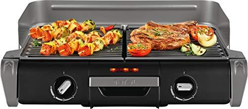 Tefal Elektrogrill Family TG8000 | Tischgrill/BBQ | Für drinnen und draußen | Zwei getrennte Grillroste mit...