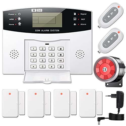 YISEELE Alarmanlage Haus, GSM Funk Alarmsystem mit fürs Home Security, 9-teiliger Bausatz, 120db Sirene,...