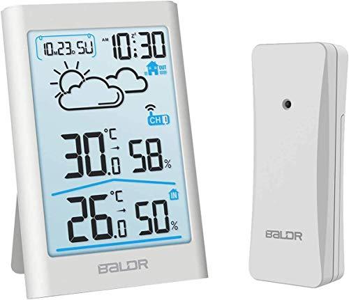 TEKFUN Wetterstation Funk mit Außensensor, Digital Thermometer Hygrometer Innen und Außen Raumthermometer...