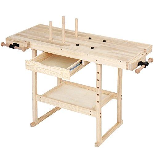 TIMBERTECH® Hobelbank - 127x57,5x82,5 cm, aus Holz mit Spannzange, Schraubstock und Schublade, bis 200 kg...