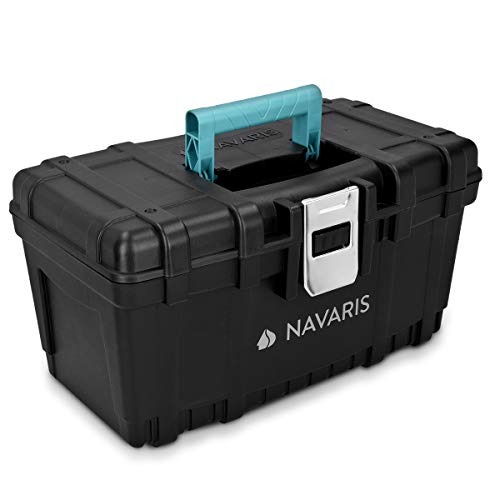Navaris Werkzeugkasten 16' Box leer - 40,6 x 23,8 x 22cm - 19 Liter Volumen - mit einer Stahlschließe -...