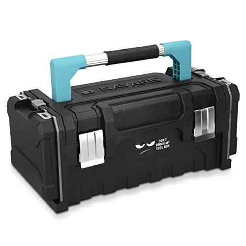 Navaris Werkzeugkoffer 20' Box leer - 51x23x21cm - 2 abnehmbare Organizer Boxen Stahlschließen -...