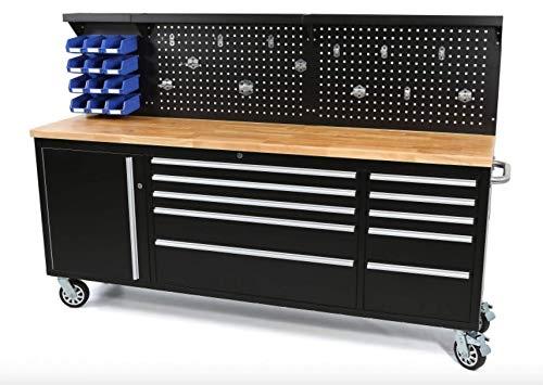 Werkbank mit Schubladen 215 cm Werkzeugwagen, fahrbare Werkbank mit Massivholzplatte inkl. Rückwand, Werkbank...