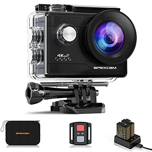 Apexcam 4K Action cam 20MP WiFi Sports Kamera Ultra HD Unterwasserkamera 40m 170 ° Weitwinkel 2.4G...