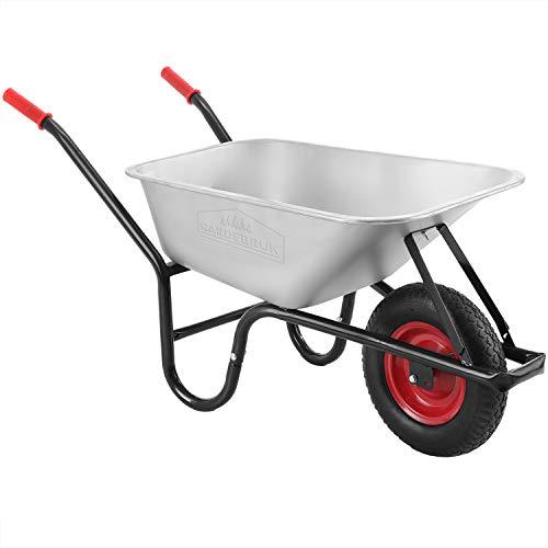 Gardebruk Schubkarre 100 Liter bis 250kg Luftreifen mit Stahlfelge verzinkt Garten Bauschubkarre...