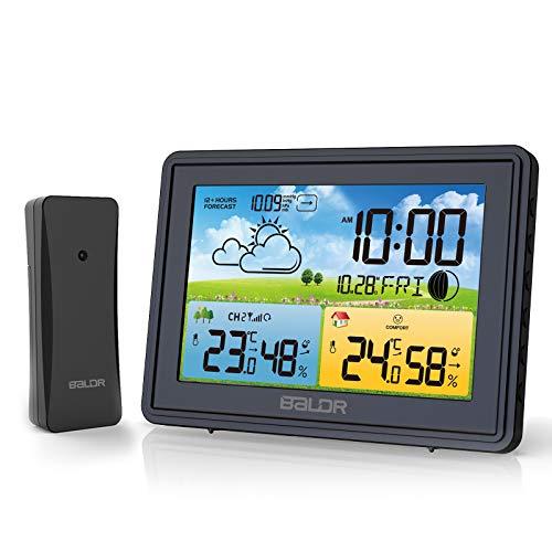 BALDR Wetterstation Funk mit Außensensor, Digital Außenthermometer Funk, DCF Radio Clock, Digitaler...