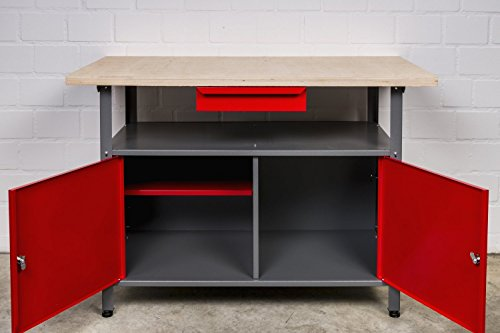 Werkbank aus Metall mit 30 mm Sperrholzplatte, verschließbaren Türen und Schublade, Maße (BxTxH): 120 x 85...