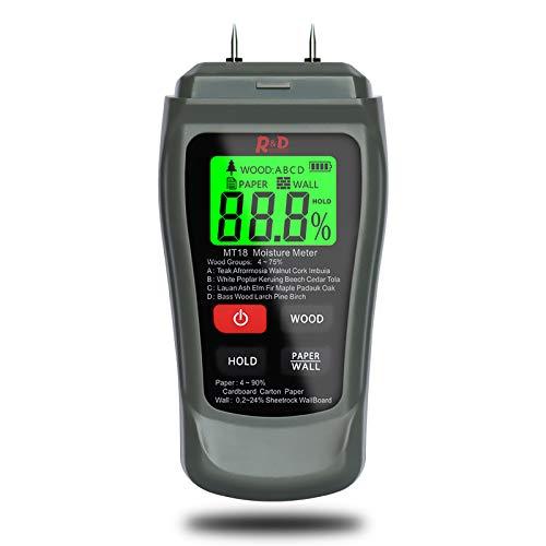 Feuchtigkeitsmessgerät, Feuchtemessgerät Digitales, Pin-Typ Feuchtigkeitsmesser mit HD-LCD...