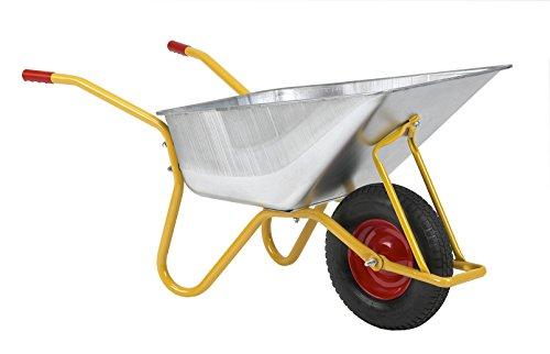 Ravendo 08502370 Bauschubkarre mit Verzinktes Stahlwanne, Traglast/Volumen 200 kg/110 L, Gelb RAL 1004