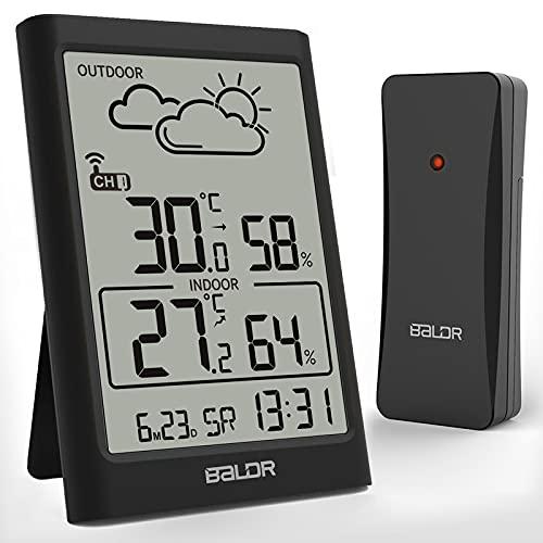 TEKFUN Wetterstation Funkuhr mit Außensensor, Digital DCF Funkuhr Thermometer Hygrometer Innen und Außen...