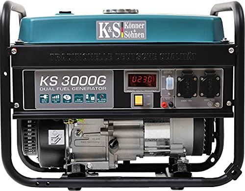Könner & Söhnen KS 3000G - Hybrid Benzin-LPG 4-Takt Stromerzeuger, Kupfer Generatoren 3000 Watt, 16A, 230V,...