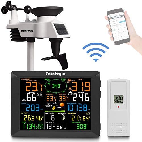 Sainlogic Profi WLAN Wetterstation, Smart WiFi Internet Funk Wetterstation mit großem 8 Zoll Farb-Display und...