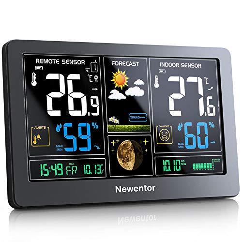 Newentor Wetterstation mit Außensensor Funk Multifunktionale Funkwetterstation Thermometer Hygrometer...