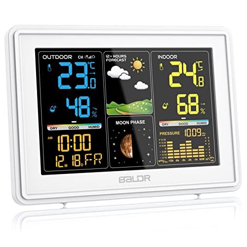 BALDR Wetterstation Funk mit Außensensor, Digital Farbdisplay DCF-Funkuhr Innen und Außen Thermometer...