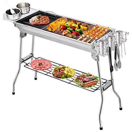 Fixget Holzkohlegrills, Edelstahl Grill BBQ Tools Sets Kochutensilien BBQ Grill Kit für Picknick, Camping...