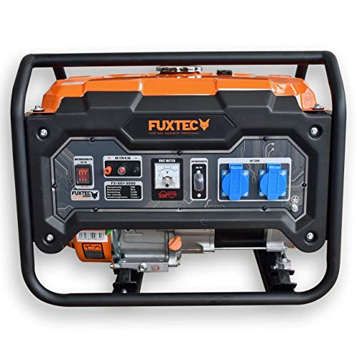 FUXTEC Stromerzeuger Benzin FX-SG1-3000 – 2500W Stromaggregat 2x 230V Anschlüsse – Stromgenerator...
