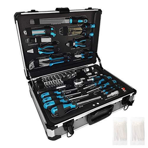HENGMEI 208-teilig Werkzeugsatz im Alukoffer Universal Alu Werkzeugkiste Werkzeugkoffer Für Haushalt, Garage...