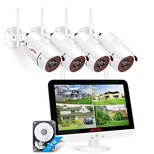 [Tonaufnahme] ANRAN 3MP 8CH Überwachungskamera Set WLAN mit 13 Zoll Monitor und 4 Überwachungskameras für...