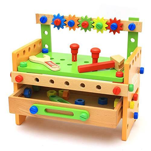 Werkbank Aus Holz,Holz DIY Werkbank Lernwerkzeug Set Griff Montage Spielzeug Spielset Für Kinder,1