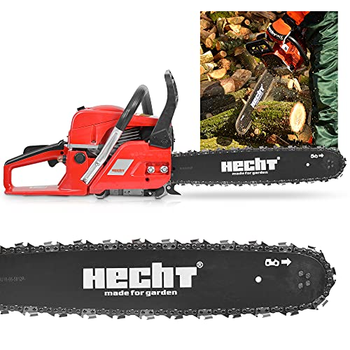 HECHT Benzin Motorsäge – 50cm ³ Hubraum – 40cm Schwert – Rückschlagbremse – Kette –...