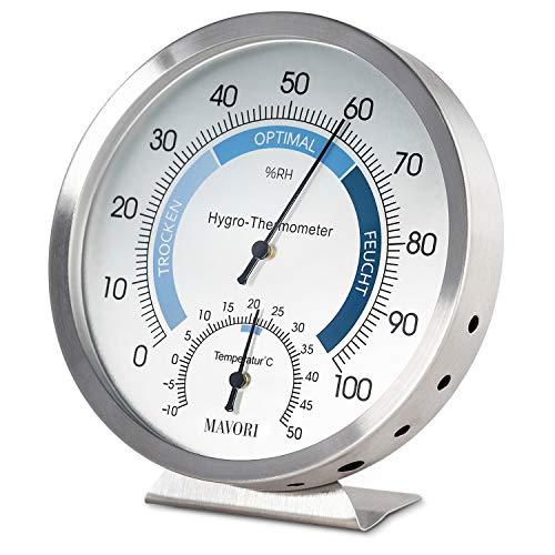 MAVORI® Thermometer Hygrometer innen analog - Temperaturmessgerät und Luftfeuchtigkeitsmessgerät innen aus...